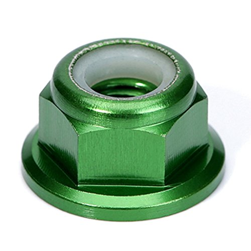 Nut Aluminum Lock Flanged (10PCS M6 Nut CCW Aluminum Flanged Nylon Lock Nut Self-Locking Metal Nuts (Green))