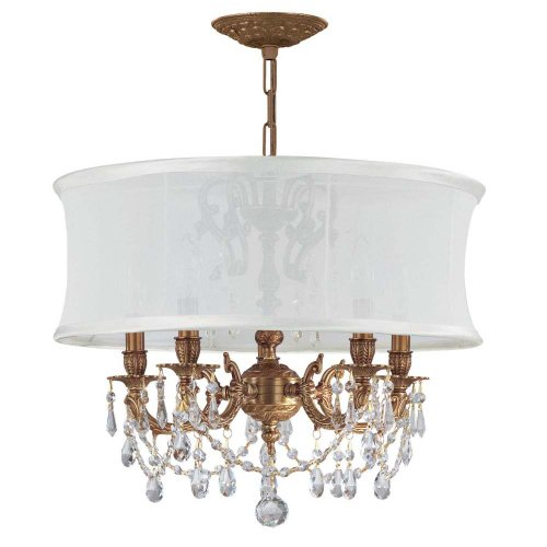 Cls Traditional Crystal Chandelier - Crystorama 5535-AG-SMW-CLS Crystal Accents Five Light Mini Chandeliers from Gramercy collection in Brassfinish,
