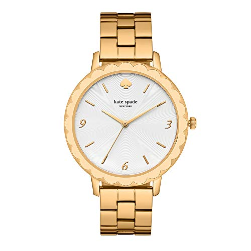 (kate spade new york Women's Scallop Quartz Watch with Stainless-Steel-Plated Strap, Gold, 16 (Model: KSW1494))