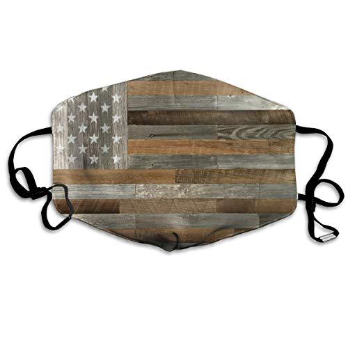 Anti Allergy Flu Dust Face Mask, Earloop Half Face Mask for Women Men, Cycling Skate Respirator with Adjustable Elastic Band - Wood American Flag, Dental Mask