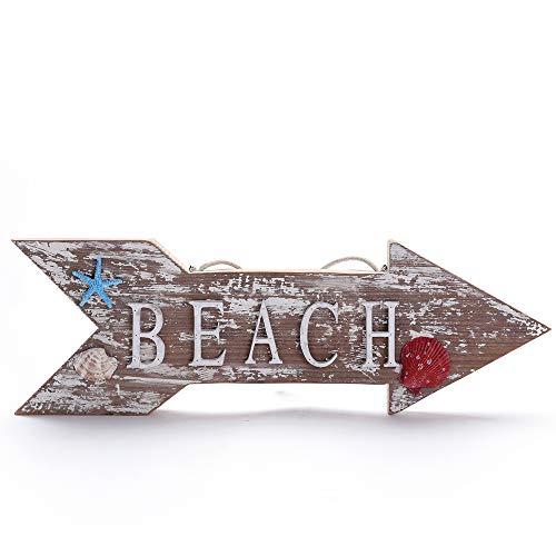 Byher 20-Inch Beach Arrow Sign Decor, Decorative Hanging Sign with Beach Wood Letters for Farmhouse Beach Bathroom Wall Decor (Large)]()