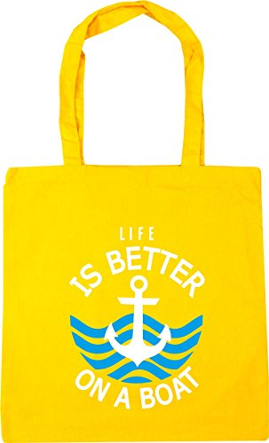 HippoWarehouse Life is better on a boat Tote Shopping Gym Beach Bag 42cm x38cm, 10 litres Yellow
