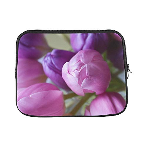 Design Custom Tulip Flower Blossoms E Violet Pink Beautiful Sleeve Soft Laptop Case Bag Pouch Skin for MacBook Air 11