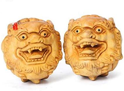 Ashy-wlj フィットネスボール、つげフィットネスボール、木材保護者やシニア(つげ彫刻ペア)のために工芸のために中年や高齢者、誕生日ギフトを彫刻 (色 : ベージュ, サイズ : 5.0cm)