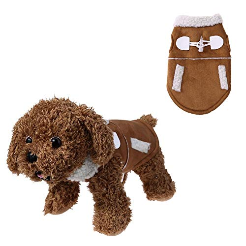 (Stock Show Pet Dog Clothes Winter Jackets Suit Warm Velet Fleece Vest Small Dog Motorcycle Waistcoat Coat Costume Apparel Clothing for Small Dogs Puppy Doggie Chihuahua Cat, Brown)