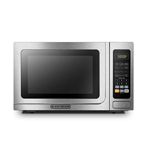 BLACK+DECKER EM036AB14 Digital Microwave Oven with Turntable Push-Button Door,Child Safety Lock,1000W,1.4 cu.ft,Stainless Steel,