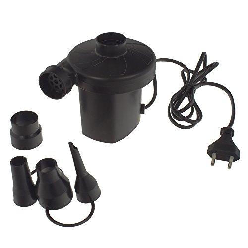 Smartfox Elektrische Luftpumpe 150W, 220 - 240V 50Hz, Elektropumpe und Gebläsepumpe, 4 Adapteraufsätze, schwarz