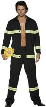 Adult Fire Fighter Black Costume Fancy Dress Set