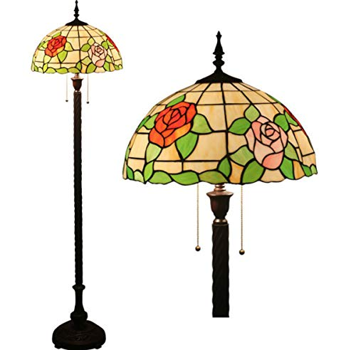 Floor Lamp Tiffany Style Vintage Roses Floral Stained Glass 2-Light Reading Floor Standing Lamp for Bedroom Living Room, 63 Inch Tall
