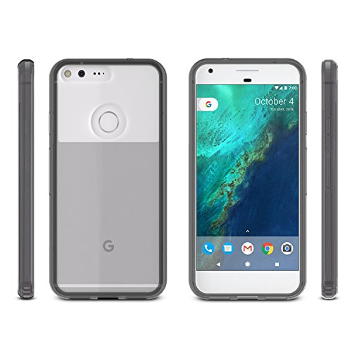 Google Pixel XL Case, OMOTON Slim Fit Case with Shock Absorbing TPU Bumper and Anti-Scratches Hard Acrylic Back for Google Pixel XL [5.5 Inch] ( 2016 Released ) Clear/Black