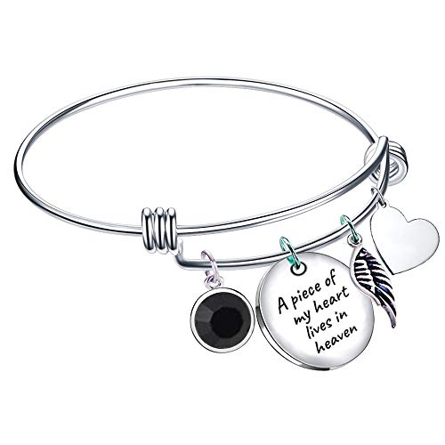 (Paris Selection Memorial Bangle Bracelet A Piece of My Heart Lives in Heaven- Sympathy)