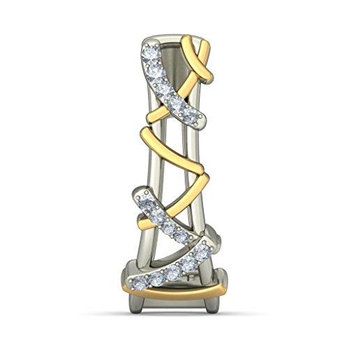 18K Or Blanc 0.256CT TW Round-cut-diamond (IJ | SI) Boucles d'oreilles créoles