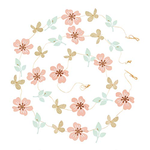 Ling's moment 13FT Paper Butterfly Flower Leaves Banner, Set of 2, Hanging Flower Backdrop Garland for Baby Nursery Birthday Party Wedding Bridal Shower Dorm Room(Coral,Mint,Gold)