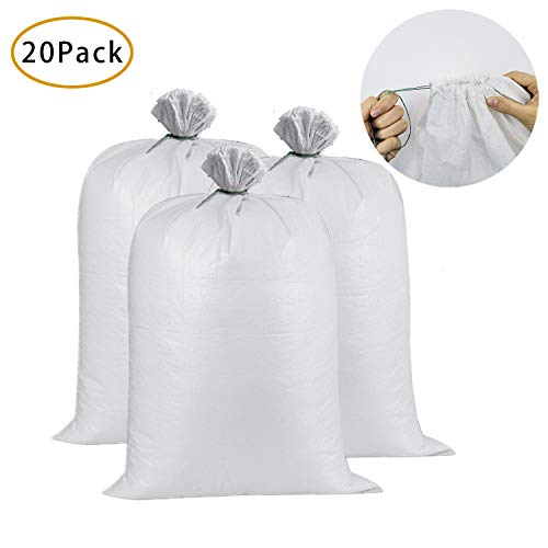 20 Pack Sand Bags, 17.5 inches x 26 inches Empty White Woven Polypropylene Sandbags with UV Coating Protection for Flood Control, Top Drawstring - Sandbags Empty