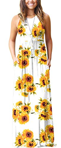 GRECERELLE Women's Casual Loose Long Dress Sleeveless Floral Print Maxi Dresses with Pockets Sun White-2XL