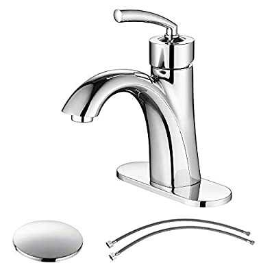 PARLOS Bathroom Sink Faucet with Drain Assembly and Faucet Supply Lines