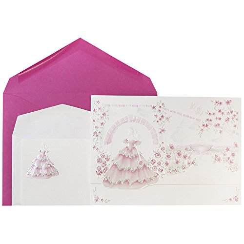 JAM Paper® Wedding Invitation Combo Set - 1 Small & 1 Large Set - Princess Garden Design Set - White Princess Garden Cards with Berry Pink Envelopes - 150/pack by JAM Paper