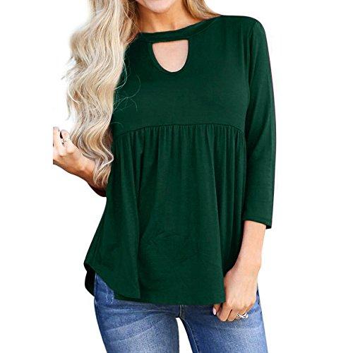 トップス 女性、三番目の店 女 カジュアル ソリッド 中空 ネック フリル付き プリーツ ロングスリーブ ブラウス Tシャツ