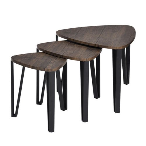 HOMY CASA Nesting Table Industrial Style Set of 3 Living Room Coffee TableTriangle End Table Walnut Wood Top Metal Leg