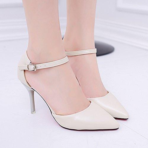 SHOESHAOGE La Punta De La Hebilla Ranurada Zapatos High-Heel Baotou Sandalias Blanco con Light-Colored,Ue34 Zapatos De Mujer Desnuda EU39