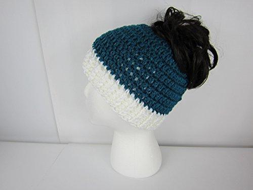 Messy Bun Hat, Crochet Messy Bun Beanie, Crochet Pony Tail Hat, Teal and White, Runner's hat, cheerleaders hat, Women's, teen ponytail hat, Juniors, Adult winter hat, Handmade