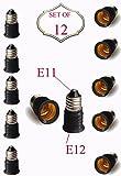 SleekLighting Bulb Adapters/Converter E11 Bulb Base to E12 Chandelier bulb base/High Temperature Resistance-Lightweight - Set of 12