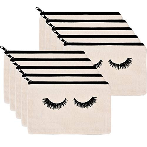 Coin Purse Cotton - 10 Pieces Eyelash Makeup Bags Cosmetic Bags Travel Make up Pouches with Zipper for Women Girls (White)