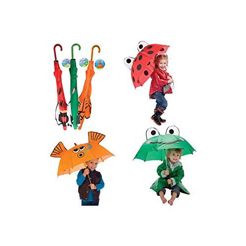 - 3 Pk Kids Umbrella - Ladybug, Frog and Goldfish for Boys and Girls