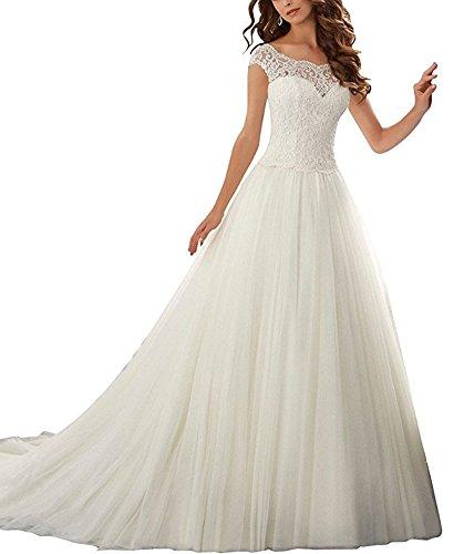 Firose Women's Lace Appliques Wedding Dresses Long A-Line
