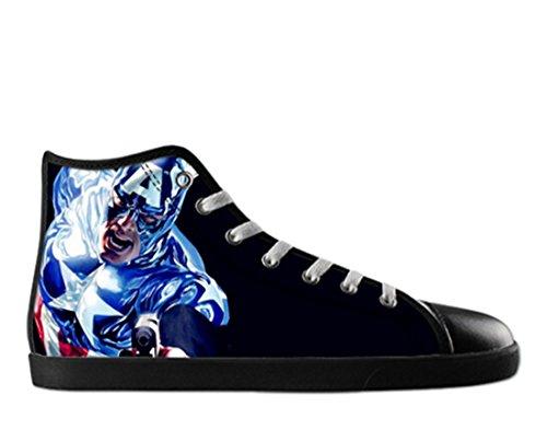Superhjälte Print Svart Hög Topp Tygskor För Kvinnor Hallo Canvas Shoes10