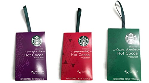 Starbucks Hot Cocoa Mix Ornament Gift Pack, Set of 3, Peppermint, Marshmallow and Double Chocolate (Starbucks Gift Packs)