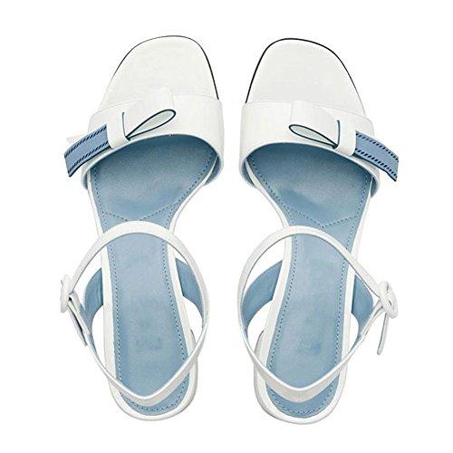 Mujer Verano Medio Zapatos Talón color Blanco Tamaño 5 Qidi Eu36 De Temporada Moda uk3 sandalias Blanco Plástico Salvaje qcAXE