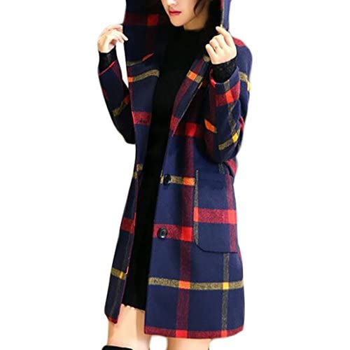 Top Cruiize Womens Casual Plaid Hooded Wool Blend Belted Winter Long Coat hot sale