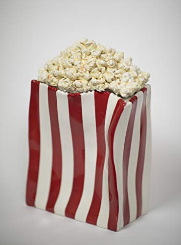 - Popcorn University Ceramic Popcorn Container with Lid - Decorative Cookie Jar for Kitchen Counter Food Storage, Table Centerpiece, Vase & More - Red Striped Home Movie Theater Room Décor, 13