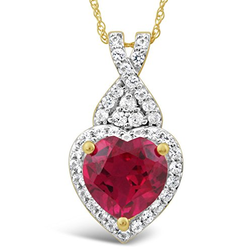 Lab Created Ruby Necklace Heart Shaped with Created White Sapphire Halo in 10k Yellow Gold - 18 Inch Chain