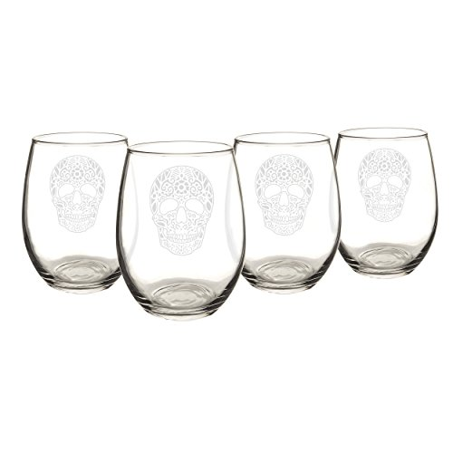 Cathy's Concepts Sugar Skull Stemless Wine