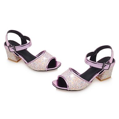 LvYuan Mujer-Tacón Robusto-Zapatos del club-Sandalias-Vestido Informal Fiesta y Noche-Cuero Patentado Purpurina Materiales Personalizados-Negro Black