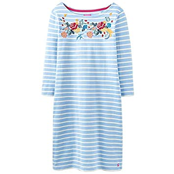 7df35aed7e2 Joules 3/4 Sleeve Embroidered Jersey Riviera Dress Light Blue Embroidered  Stripe Size 18: Amazon.co.uk: Kitchen & Home