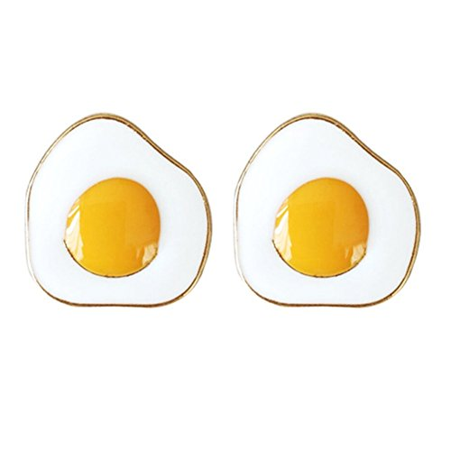 18K Gold Plated Lovely Fried eggs Charm Women Stud Earring - Nickel Images Egg Egg