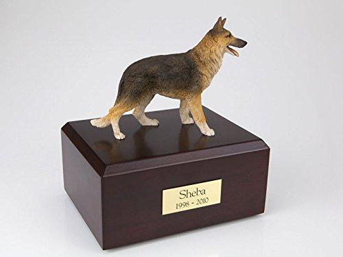 (GENUINE North American Hardwood and German Shepherd Standing Figurine Urn Xlarge)