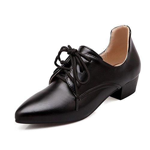 de de Color Alto de Tacón Punta de Tamaño Individuales Zapatos de Estrecha de Gran de Mujer Black Sólido Cuero Encaje Zapatos 7qwFt5XxUt