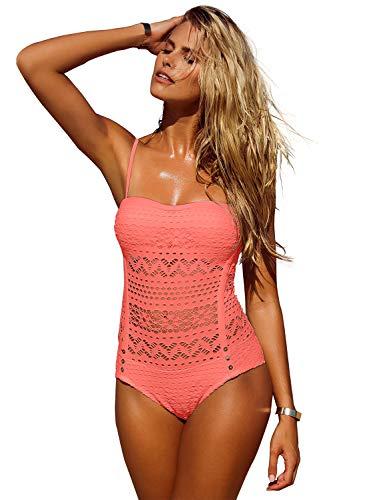 (LookbookStore Women's Coral Crochet Lace Halter Straps Swimsuits Swim Bathing Suit US 10)