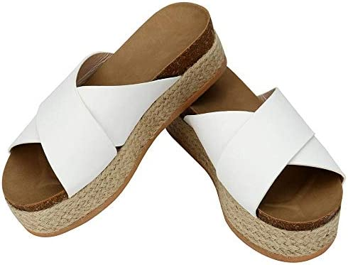 Gets Espadrille Slides Sandals,Summer Faux Leather Criss