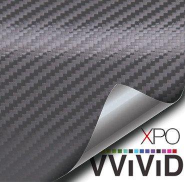 VVIVID® XPO Dark Grey Carbon Fiber 5ft x 3ft Car Wrap Vinyl Roll with Air Release Technology