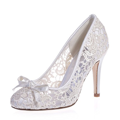 Clearbridal Womens Round Toe Lace Flowers Pumps Heels Wedding Shoes ZXF5623-10 Ivory cyJ0J2