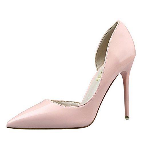 AalarDom Damen Stiletto Spitz Zehe Ziehen Auf Rein Pumps Schuhe Pink-Lackleder