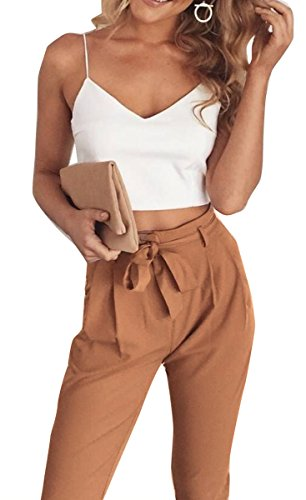 FANCYINN Women 2 Pieces Outfit Spaghetti Strap Top and Bodycon Long Pant with Belt S