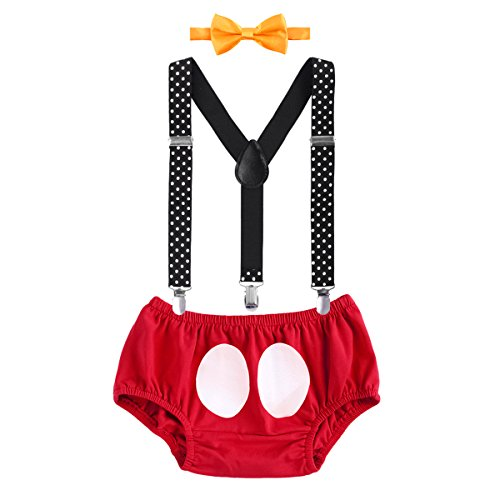 Cake Smash Mouse Costume Outfit Baby Boy First Birthday Party Bottoms Bowtie Y-Back Suspenders Photography Props Bottoms Bowtie Suspenders 3pcs Clothes Set Briefs & Red 6-12 Months]()