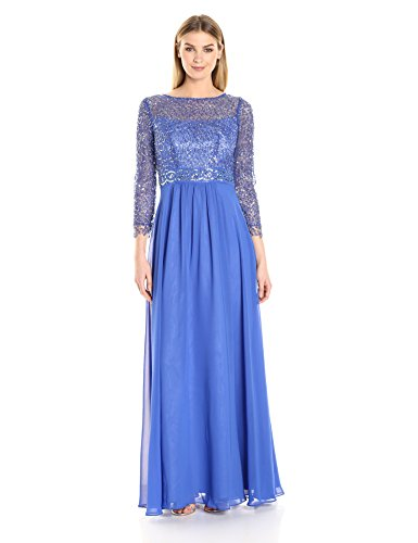 Cornflower Beaded Sleeve 8 3 Decode Illusion 4 1 with Women's Gown Sequins WwXqOWnPYx