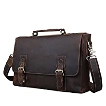 Baigio Mens Retro Leather Briefcase, 14'' Leather Laptop Messenger Bags, Brown